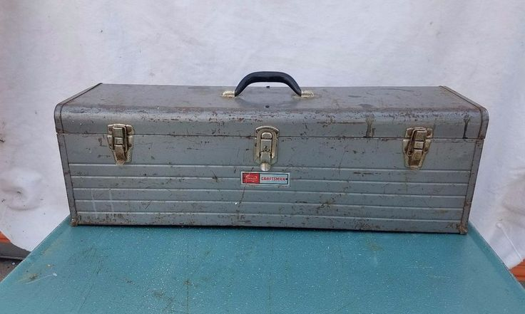 "Vtg Sears Craftsman Metal Tool Craft Box Chest w/ Tray Old 30"" 6517 Gray Steel"