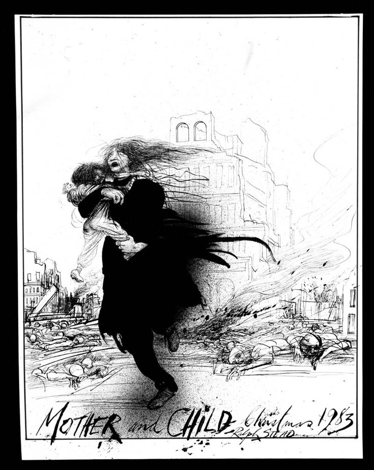 Humanitarian collection - Mother and Child Illustration by Ralph Steadman