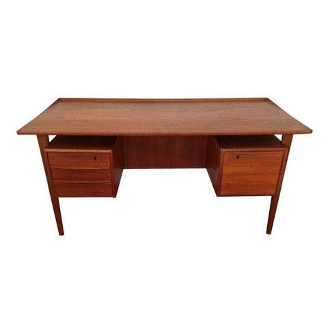 Mid Century Teak Executive Desk By Dansk Lovig Executive Desk Modern Executive Desk Desk