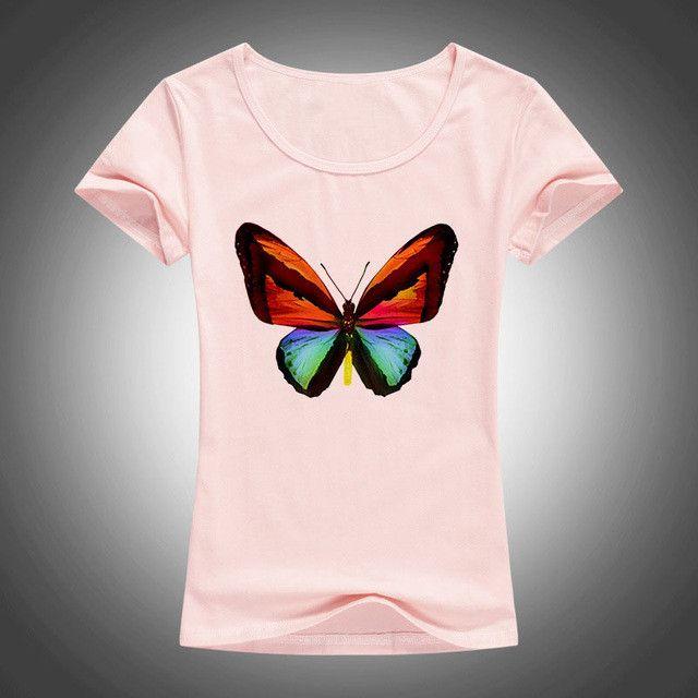 2016 summer Cartoon animal print t shirt women tops tees short sleeve T-shirt butterfly printed T shirts 1861