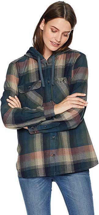 b7cf85096f2fa Carhartt Women's Beartooth Hooded Flannel Shirt, Dark Crimson, X-Large at Amazon  Women's Clothing store: