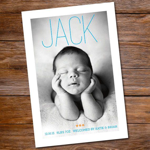 Birth announcement baby boy photo card - Modern Baby. $15.00, via Etsy.