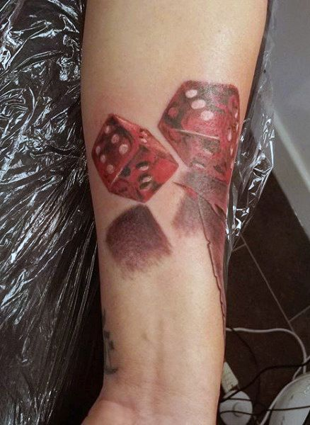 779fbcc6c 3d Mens Tattoo Of Red Rolling Dice With Shadowing Dice Tattoo, Tattoos For  Guys,