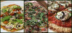 Pizza vegana triturado de calabacín, zanahoria y semillas de lino. Pizza de Quinoa. cocer la quinoa y triturarla en una batidora con medio vaso de agua, aceite, un ajo, sal y romero. Pizza con base de patata. Cuece unas patatas, machácalas y mézclalas con un poco de aceite de oliva para crear una pasta. Hornéalo unos 20 minutos intercambiando los dos lados de la masa.