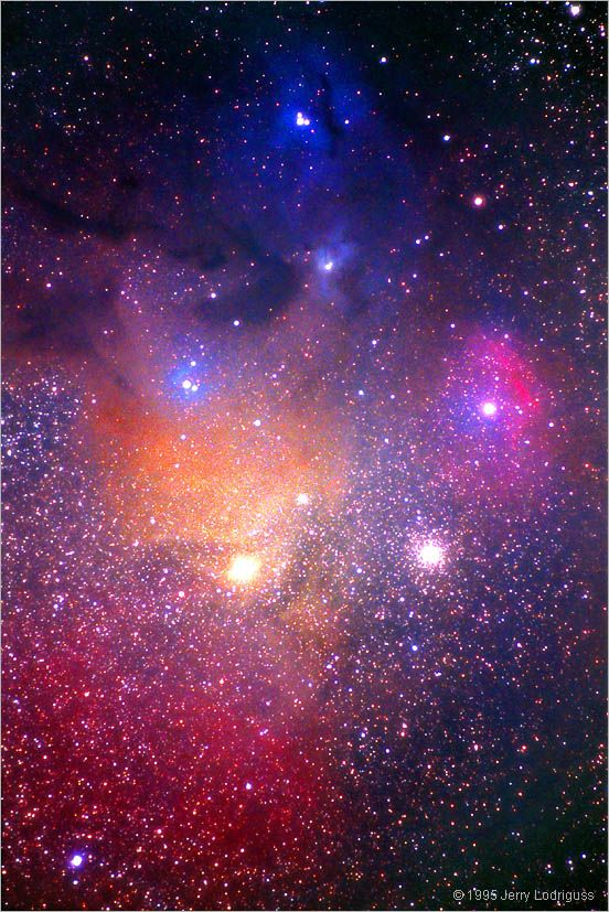 Rho Ophiuchus Nebula Complex    This amazing complex of nebulosity revealed on long exposure color photographs is one of the most beautiful areas of the entire night sky.    It contains dark nebulae where lanes of obscuring dust hide background stars, blue reflection nebulae where the dust is illuminated by nearby stars and red emission nebulae where the hot hydrogen gas itself is glowing.