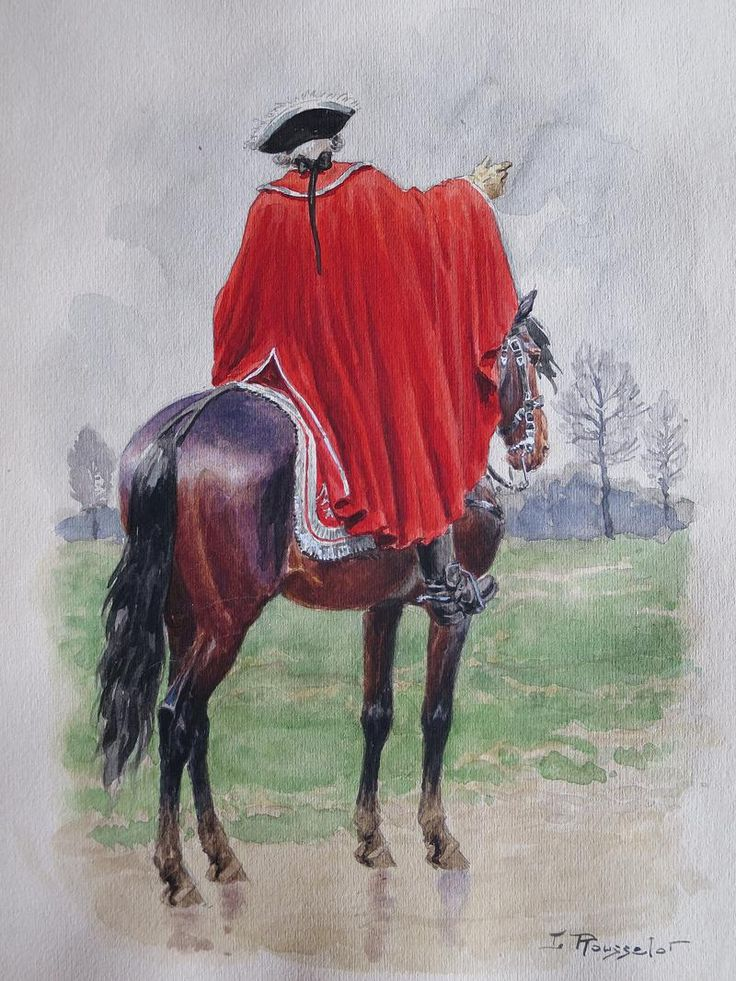 ROUSSELOT LUCIEN : AQUARELLE ORIGINALE, GENDARMERIE DE FRANCE (1720-1724) : OFFICIER EN MANTEAU, ANCIENNE MONARCHIE.