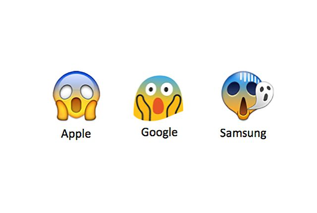 9 Emojis That Look Completely Different on Other Phones with important differences on Apple (iOS 9.1), Google (Android 5), and Samsung (Galaxy S5).