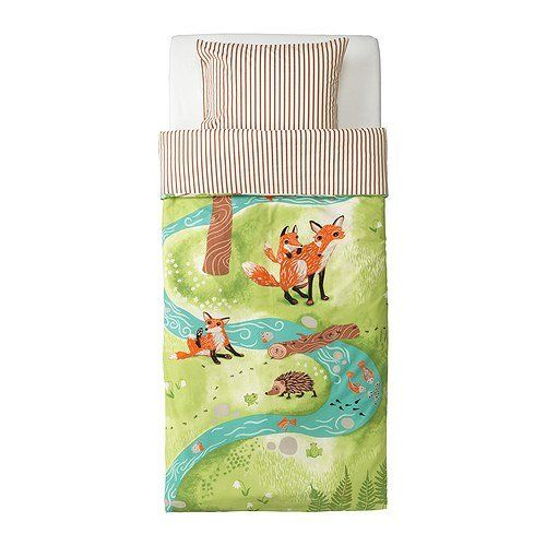 Amazon.com - Ikea Vandring Räv Duvet Cover and Pillowcase(s), Green/brown - Childrens Rugs