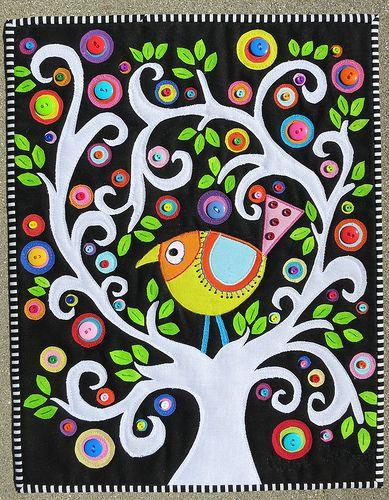 Bird, tree, buttons