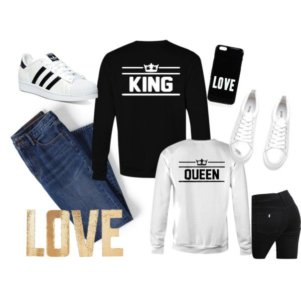for KING & QUEEN royalties ♛ by sugar-army on Polyvore; Matching couple crewneck sweatshirts; Couple sweatshirts :)