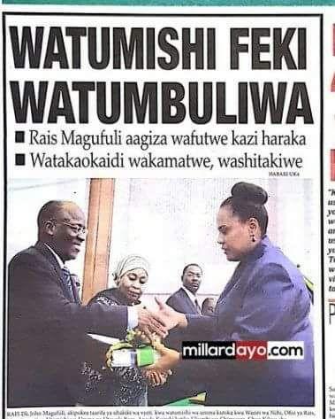 Makala Yangu RAIA MWEMA La 03/05/17: Uchambuzi Kuhusu JPM Kutimua Wafanyakazi Takriban 10000    MAKALA yangu wiki hii inahusu maoni yangu kuhusu hatua ya serikali ya Rais John Magufuli kufukuza watumishi wa umma takriban 10000 kwa tuhuma za kugushi sifa zao kielimu/ujuzi.  Kwanza nitanabaishe mapema kuwa sisi ambao tumetumia sehemu kubwa ya uhai wetu kusaka elimu  na tunaendelea kuisaka  hatua yoyote dhidi ya wahalifu wa kielimu inastahili pongezi.  Kwa hiyo hatua ya serikali dhidi ya…