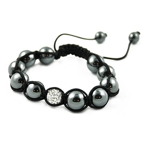 Shamballa Hematite Black Cord Adjustable Bracelet with One Clear White CZ Crystal Bead Contempo Culture