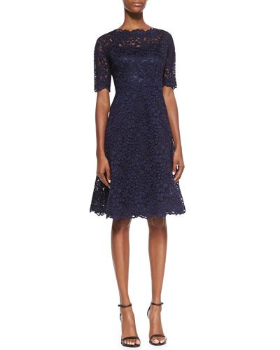 Neiman Marcus - Rickie Freeman for Teri Jon, Lace Overlay Cocktail Dress in Navy. $495.00. NMF15_T7PMH