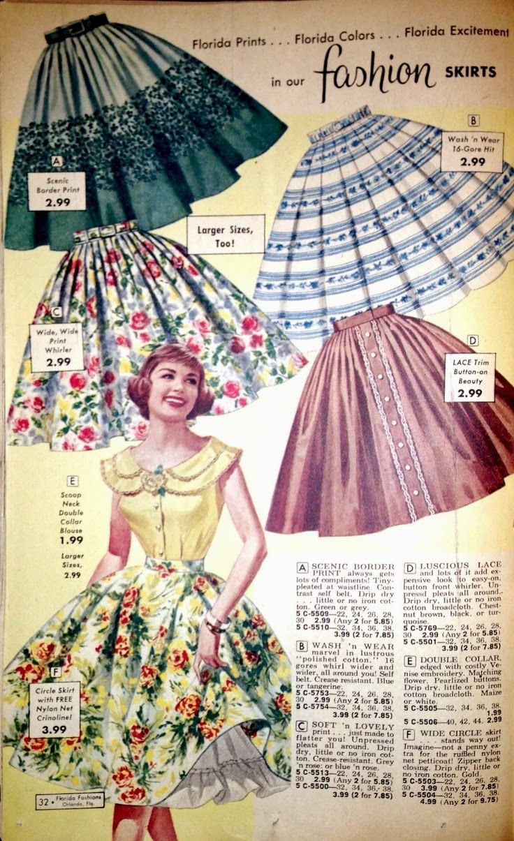 We had a dress code at our school and could not wear jeans/pants. So Mom made my dresses, skirts  jumpers and bought my blouses and sweaters. I had lots of cotton skirts like these!