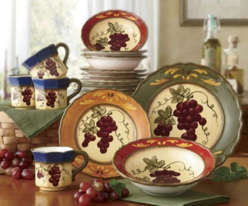 Tuscany Colorful Grapevine Hand Painted Ceramic 16pc Dinneware