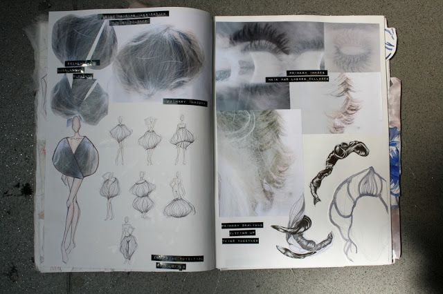 Fashion Sketchbook - hair-inspired fashion design drawings, ideas, layout - Jessica Leigh Haughton portfolio