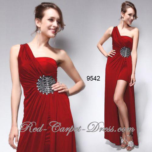 Super sexy red hi lo evening dress.