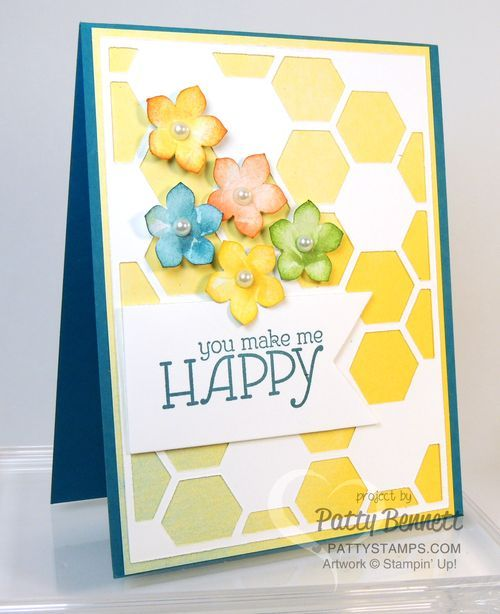 Hexagon Hive framelit die cut over Watercolor Wonder designer paper with Petite Flower punch outs from the Stampin Up 2014 Occasions catalog by Patty Bennett, www.PattyStamps.com
