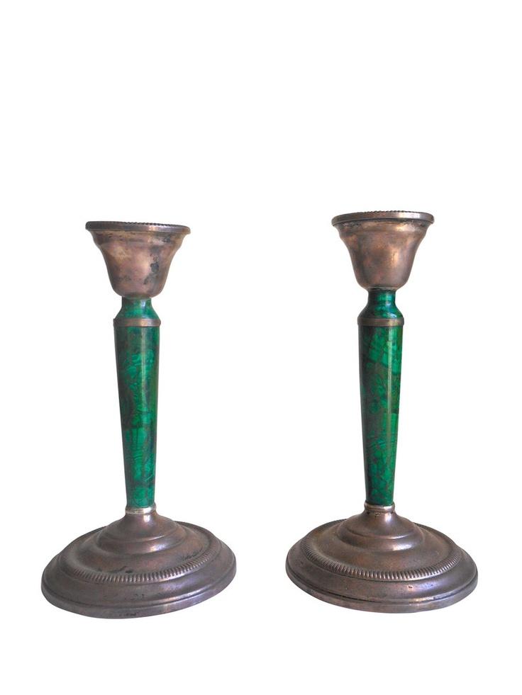 Malachite & Silver Candlesticks, Pair