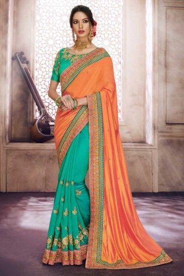 b227357254a98  Wedding  Sarees - Light Green and Orange Satin and Silk Saree With Brocade  Blouse - DMV15894