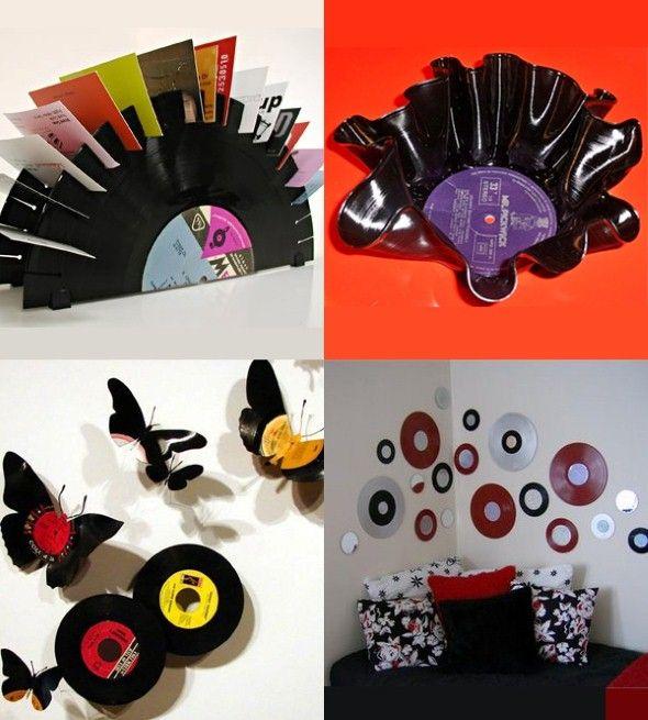 artesanato com discos de vinil 007