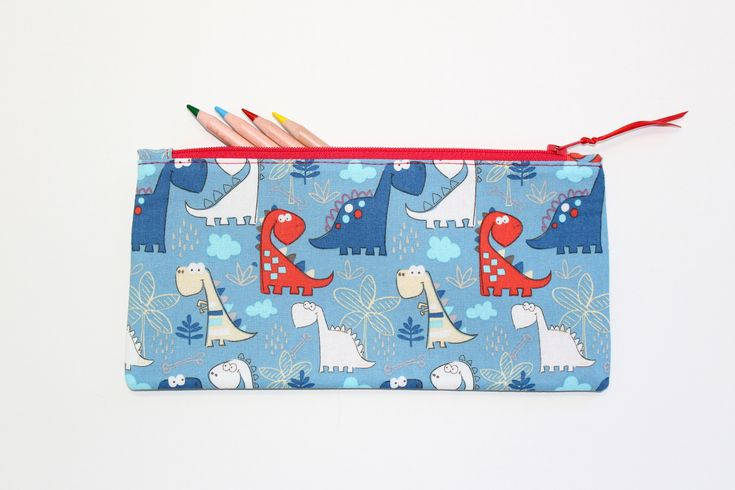 Dinosaur Pencil Case, Pencil pouch, Pencil Bag, Kids Pencil Case, Cute School Supplies, Gifts Under 20 by LittleFoxSewsLots on Etsy