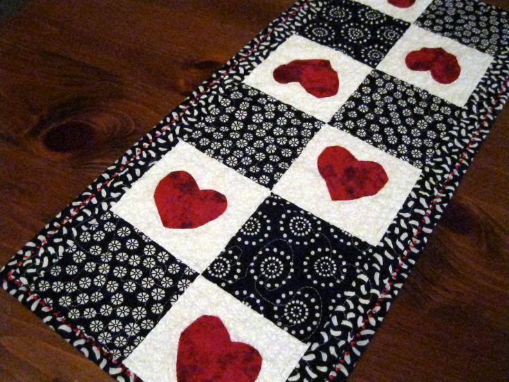 Table Runner Black White Red Hearts Valentines Day Table Quilt Table Linens  Placemats. $45.00,