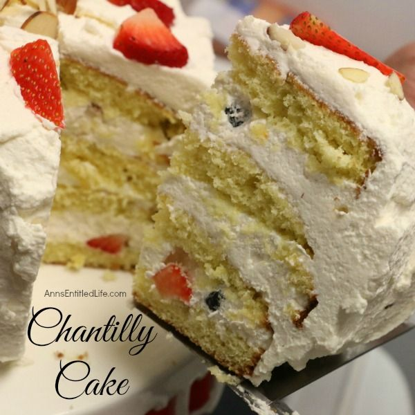 Chantilly Cake Recipe;  a very rich, dense, yet moist and sweet Chantilly Cake. Perfect for a special occasion, holiday treat, or simply an after dinner dessert, this Chantilly Cake Recipe will delight your taste buds.  http://www.annsentitledlife.com/recipes/chantilly-cake-recipe/