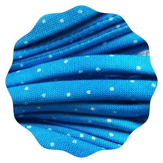 Fun Shoelaces made from fabric Blue and white retro polka