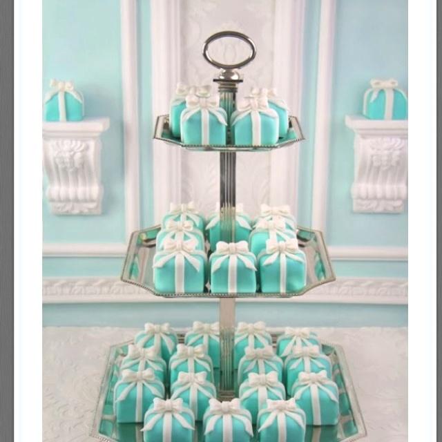 Tiffany and co.: Tiffany Cakes, Tiffany Box, Minis Cakes, Petite Four, Cupcakes, Tiffany Blue, Tiffanyblue, Bridal Shower, Mini Cakes