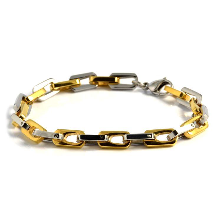 Guld/Sølv Maskulint Stålarmbånd - 285,00kr