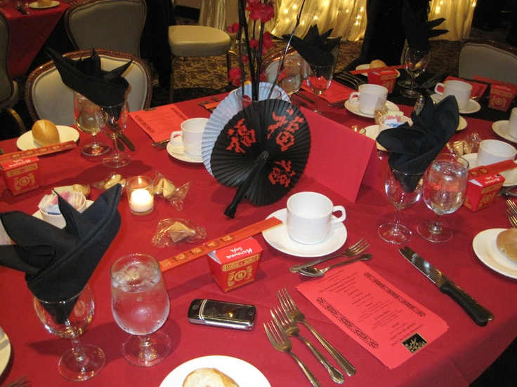 Inexpensive Dinner Party Ideas Part - 33: Inexpensive Fans With Blossoms And Sticks Wrapped In Black Florist Tape  With Red Blossoms Made Inexpensive