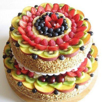 pastel de frutas: Cake, Torta De, Mmmm Food, Cakes Decor, Fruit Cakes, Decor A Cakes With Fruit, Fruit Tarts, Food Art, Rice Krispie