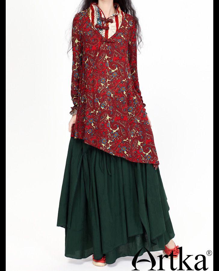 Многослойная юбка в пол в стиле бохо тёмно-зелёного цвета, 16443891911 купить за 4230 руб. с доставкой по России, Украине, Беларуси и миру | Платья | Artka: интернет-магазин обуви и одежды Artka