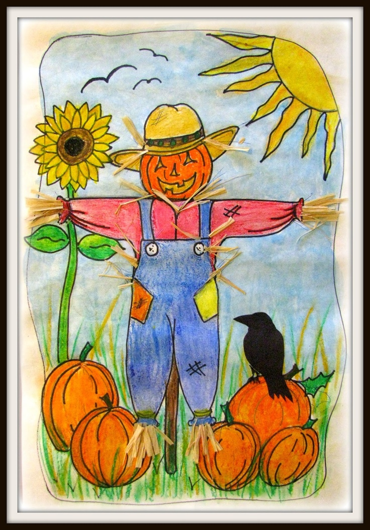 PLATEAU ART STUDIO Kindergarten.. how to draw a scarecrow. Oil pastel water color resist project.