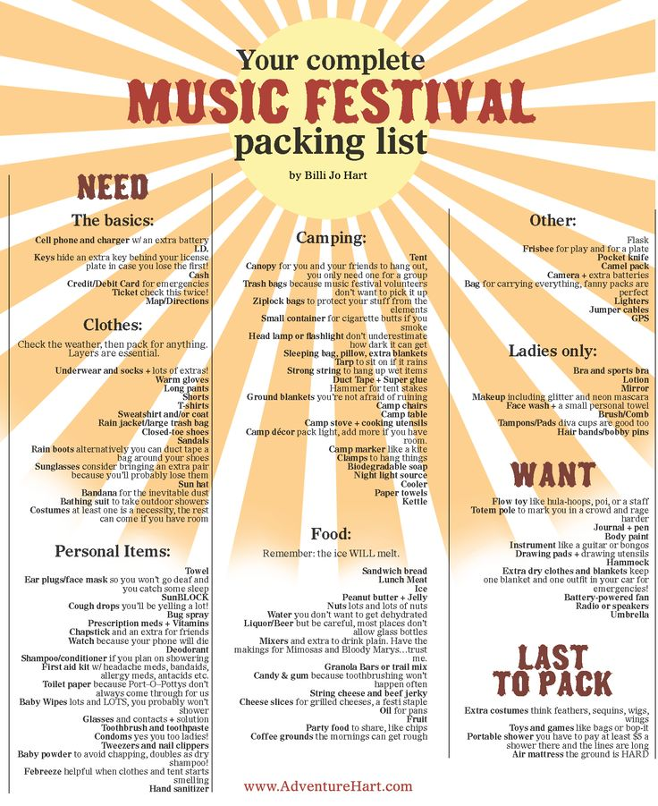 An updated music festival packing list can be found here: http://adventurehart.com/2015/07/15/an-updated-complete-and-ready-for-adventure-music-festival-packing-list/. Music Festival Packing list by Adventure Hart: www.adventurehart.com