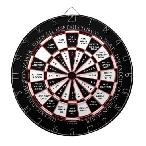 "This is the perfect gift for the executive on your list.  ""The Executive Decision Maker"" dartboard was created in the old magic 8 ball style, making this a really funny and entertaining accessory to any executive's office.  When all else fails, throw a dart!"