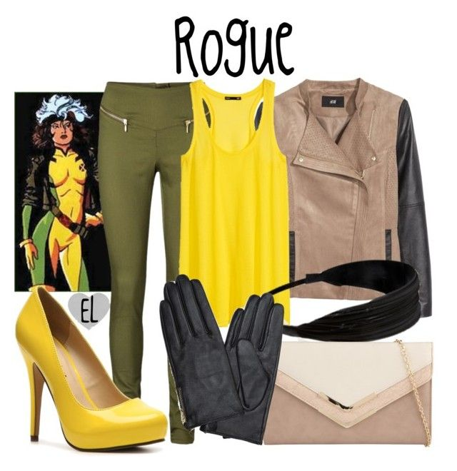 """""""Rogue -- X-Men"""" by evil-laugh ❤ liked on Polyvore featuring Vero Moda, H&M, Forever 21, ALDO, Accessorize, Michael Antonio, marvel, xmen and rogue"""