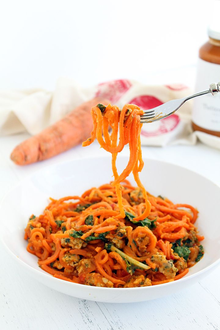 Butternut Squash Carrot Noodles with Sausage and Kale