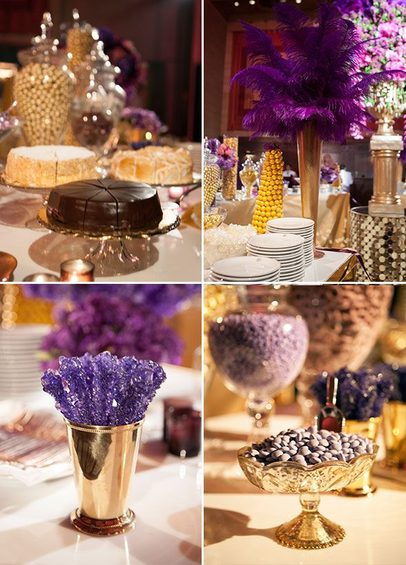 black white purple wedding reception%0A Yummy cakes  purple rock candies and personalized M u    Ms  you will never get  bored with