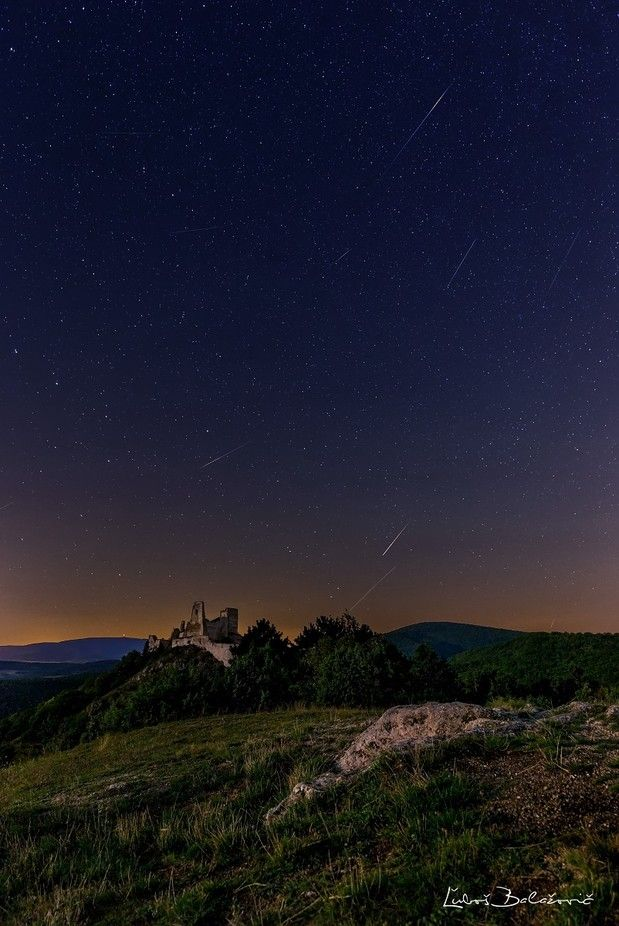 Perseids over a Cachtice castle