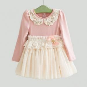 Pink and cream tulle vintage style flower girl toddler girls dress