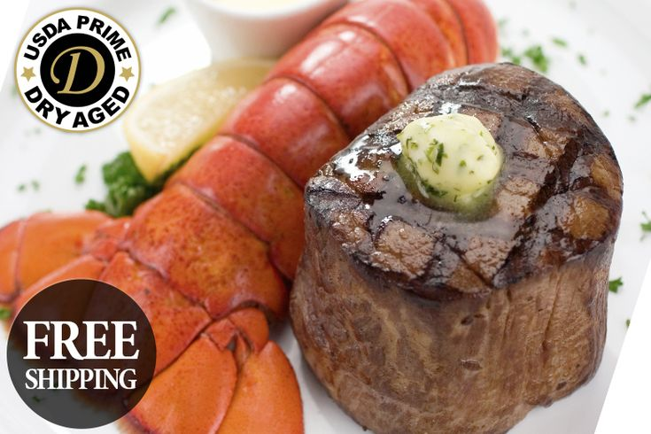 """USDA Prime Dry Aged Surf & Turf: """"Our USDA Prime, Dry Aged Steaks have the mellow taste that only comes from the… #Beef #Steaks #Wagyu"""