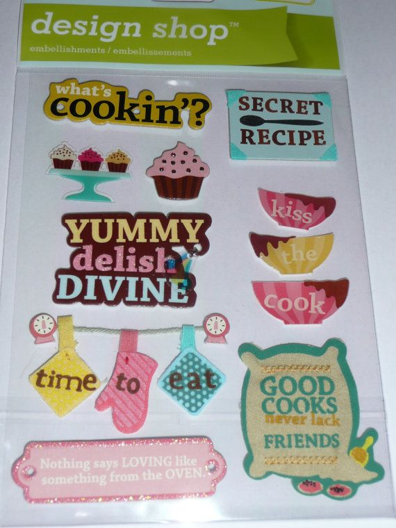 COOKING RECIPES - in the kitchen with the kids, cooking making, secret family recipe! Scrapbooking LAYOUT ideas, cardmaking! Making Memories Scrapbooking 3d Stickers by ExpressionsofFaith