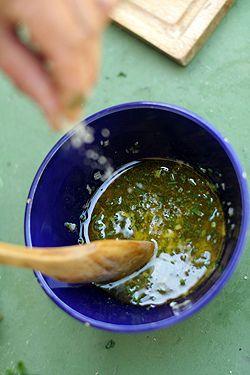 French vinaigrette recipe. Ingredients: salt, red wine vinegar, minced shallot, Dijon mustard, olive oil. David Lebovitz.