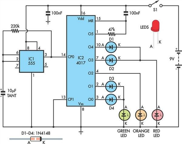 traffic lights for model cars or model railways circuit schematic,Wiring diagram,Wiring Diagram For Traffic Light