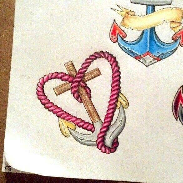 Cross heart anchor tattoo drawing by Amanda Z from Buffalo, NY