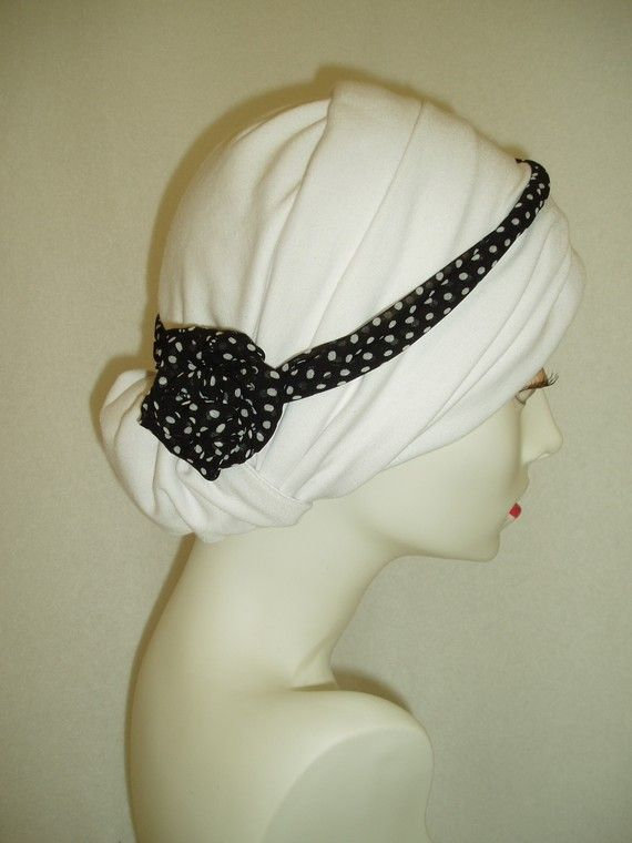 White Chemo Hat Alopecia Cancer Headwrap Headcovering