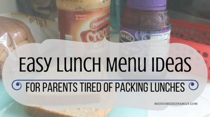 Sick and Tired of Packing Lunches?  Get Easy Lunch Menu Ideas Here