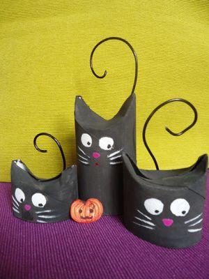 10 manualidades con rollos de carton.: Gatos.